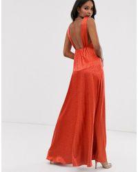 Vestido largo de satén color teja con diseño minimalista Flounce London de color Brown