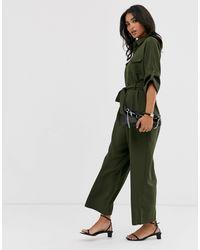 Liquorish Green – Utility-Jumpsuit mit weitem Bein