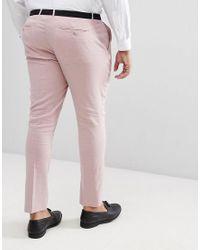 ASOS Pink Plus Super Skinny Smart Trousers for men