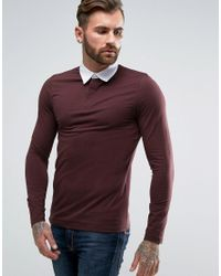 ASOS - Red Muscle Long Sleeve Rugby Polo Shirt In Oxblood for Men - Lyst