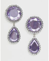 ASOS Metallic Earrings With Faceted Jewel Drop And Crystal Edge In Silver Tone
