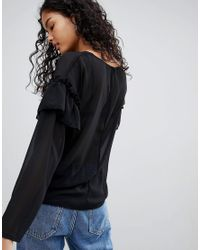 ONLY Black Naomi Frill Sleeve Blouse