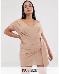 Minivestido con escote Bardot y detalle cruzado en color nude Boohoo de color Natural