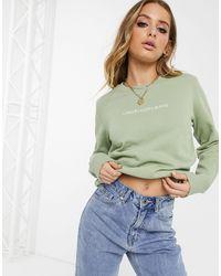 Calvin Klein Green Shrunken Logo Sweatshirt