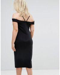 ASOS - Black Strappy Keyhole Bardot Midi Dress - Lyst