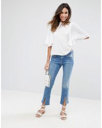 ASOS - White Pretty Sleeve Open Back Top - Lyst