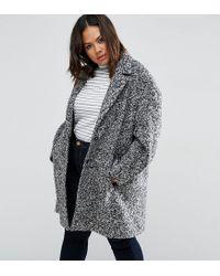 ASOS - Black Coat In Cocoon Texture - Lyst