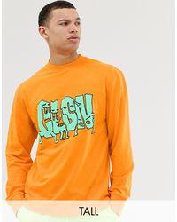 Tall - T-shirt avec imprimé Collusion pour homme en coloris Orange