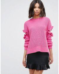 Miss Selfridge - Pink Frill Jumper - Lyst