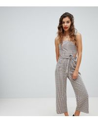 da57c704cb Bershka Check Jumpsuit With Cutout - Lyst