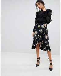 96b1e3c43 Y.A.S Floral Wrap Skirt With Ruffle Hem in Black - Lyst