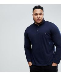 French Connection Blue Plus Long Sleeve Polo Shirt for men