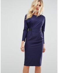 ASOS Blue Midi Dress With Elastic Waist Detail