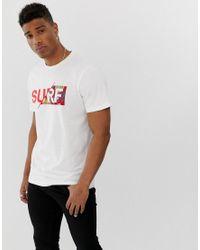 Originals - Surf - T-shirt avec inscription effet fendu Jack & Jones pour homme en coloris White