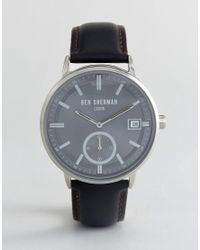 1162faf6a Ben Sherman Wb071bb Watch In Black Leather in Black for Men - Lyst