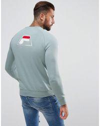 Fila Fila Black Sweatshirt With Applique Back Logo In Blue for men