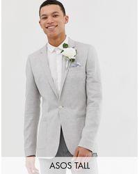 ASOS Gray Tall Wedding Super Skinny Blazer for men