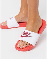 Nike Benassi White And Red Sliders