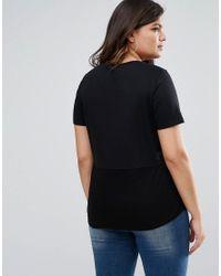 ASOS - Black Contrast Ribbed Panel T-shirt - Lyst