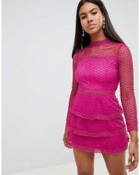 AX Paris Pink Langrmliges Minikleid aus Hkelspitze mit Stufenrock