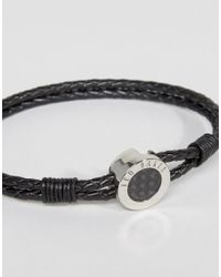 Ted Baker - Carbon Fibre Leather Bracelet In Black for Men - Lyst