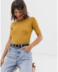 Maglione basic a collo alto con maniche 3/4 color senape di Esprit in Yellow