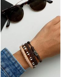 ASOS - Leather Bracelet Pack In Brown With Beads - Lyst