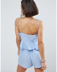 ASOS - Blue Asos Design Petite Chambray Pretty Beach Cami Top Co-ord With Crochet Trim - Lyst