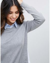 French Connection | Gray Mix It Shirt Sweater | Lyst