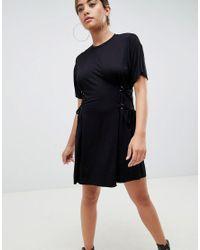 ASOS Black Asos Mini T-shirt Dress With Corset Detail