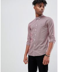 06052f4bb Tommy Hilfiger. Men's Red Mini Houndstooth Check Slim Fit Shirt Flag Logo  Buttondown ...