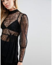 ASOS Black Premium Lace Blouse With High Neck