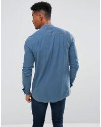 Siksilk Blue Muscle Denim Shirt With Grandad Collar for men