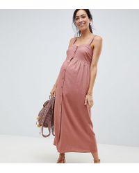 Vestito lungo in lino con bottoni di ASOS in Pink