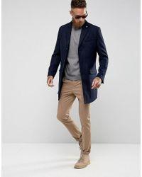 Farah Blue Askern Plain Overcoat for men