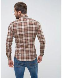 ASOS Brown Design Skinny Check Shirt for men