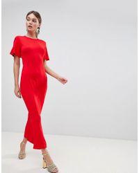ASOS DESIGN - Red Asos Maxi Tea Dress With Open Back Detail - Lyst