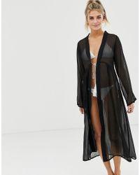 Brave Soul Black – Transparenter Kimono mit Quastenschnürung