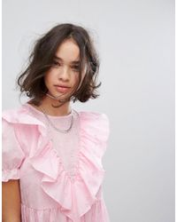 Reclaimed (vintage) Pink Inspired Midi Broderie Dress With Trims & Frills