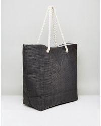 South Beach - Black Paper Straw Summer Love Beach Bag - Lyst