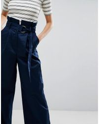 ASOS Blue Tailored Wide Leg Trousers With Paper Bag Waist And D Ring