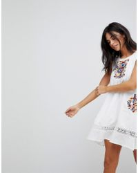 710ad8f6d602 Lyst - Hazel Embroidery Sleeveless Summer Dress in White