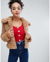 Светло-коричневая Укороченная Куртка С Искусственным Мехом -neutral Boohoo, цвет: Multicolor