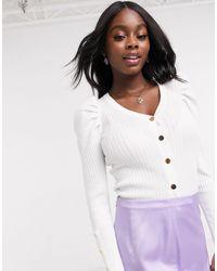 Светлый Кардиган С Пышными Рукавами И Пуговицами -белый New Look, цвет: White