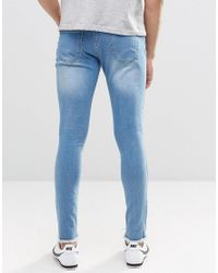 Brooklyn Supply Co. Blue Light Washed Distressed Denim Dyker Jeans With Raw Hem In Super Skinny Fit for men