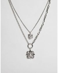 ASOS - Metallic Design Multirow Necklace With Oversized Antique Vintage Style Charm - Lyst