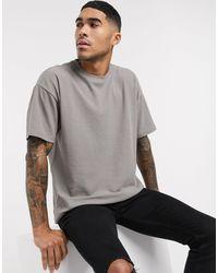 T-shirt oversize texturé effet quadrillage New Look pour homme en coloris Gray