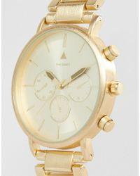 ASOS DESIGN - Metallic Bracelet Watch In Brushed Gold for Men - Lyst