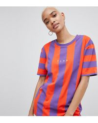 PUMA Exclusive To Asos T-shirt In Bold Red And Purple Stripe