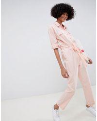 Combinaison en coton délavé ASOS en coloris Pink